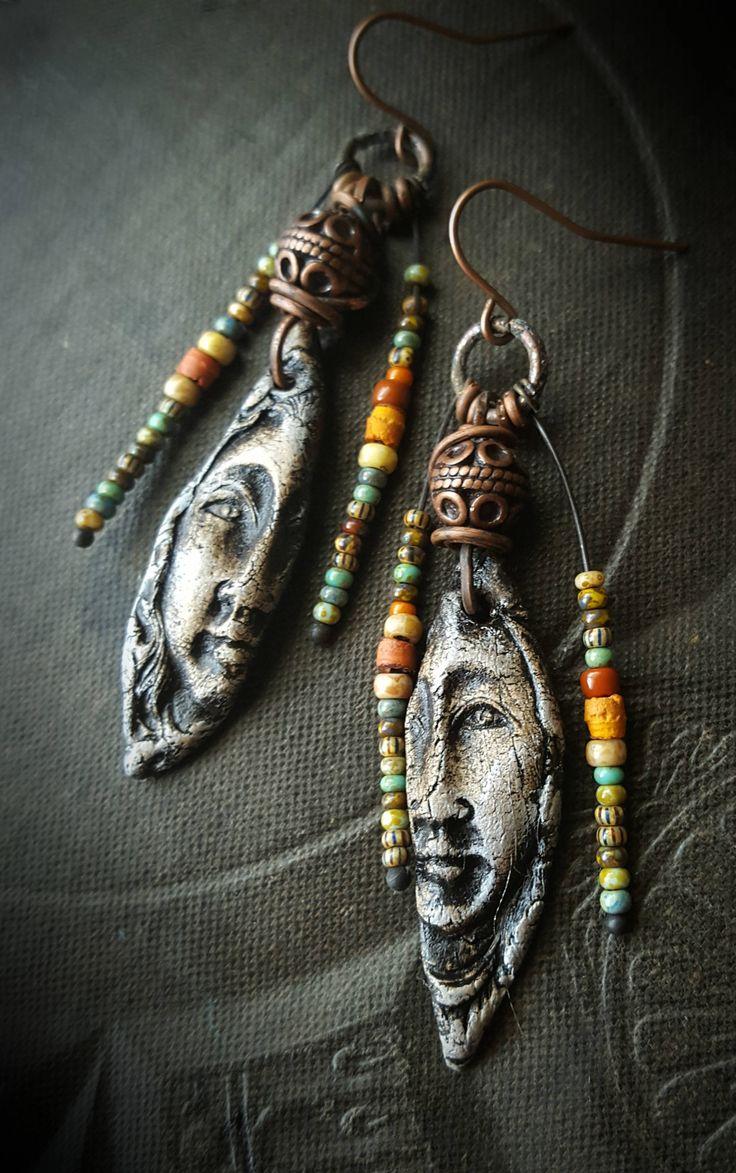 ancient women stone wear clay ceramics primitive glassl artisan made rustic organic beaded earrings