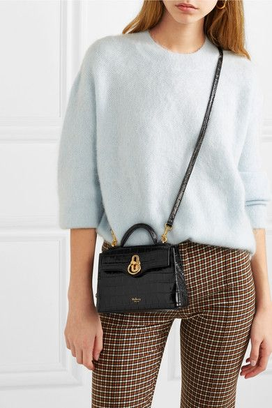 1dfdfbec9a Mulberry | Seaton micro glossed croc-effect leather shoulder bag |  NET-A-PORTER.COM