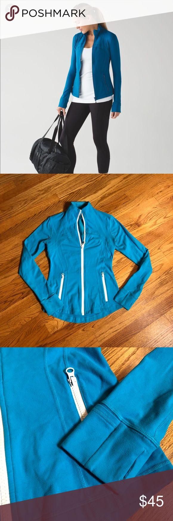 🍋lululemon snorkel blue rare define jacket 🍋lululemon snorkel blue define jacket w/white zipper slight wear on this jacket so I'm pricing low for that reason gorgeous bright blue rare lululemon athletica Jackets & Coats