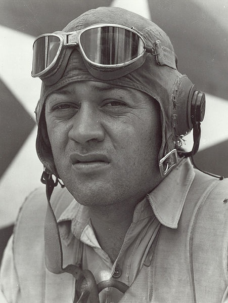 """Gregory """"Pappy"""" Boyington (December 4, 1912 – January 11, 1988) was a United States Marine Corps officer who was an American fighter ace during World War II. For his heroic actions, he was awarded both the Medal of Honor and the Navy Cross. Boyington flew initially with the American Volunteer Group in the Republic of China Air Force during the Second Sino-Japanese War. He later commanded the U.S. Marine Corps squadron, VMF-214 (""""The Black Sheep Squadron"""") during World War II.  Met Him once."""
