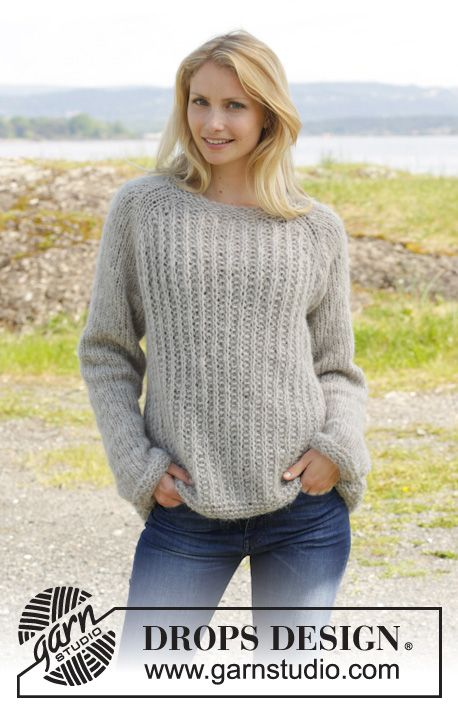 "Knitted DROPS jumper with raglan and false English rib, worked top down in 2 strands ""Brushed Alpaca Silk"". Size S-XXXL ~ DROPS Design"