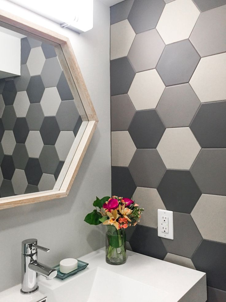 hexagon tile backsplash mosaic bathroom wall treatment