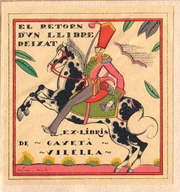 Bookplates of Vilella Puig, Cayetano (-1966), Author: Emilio Ferrer (signed)
