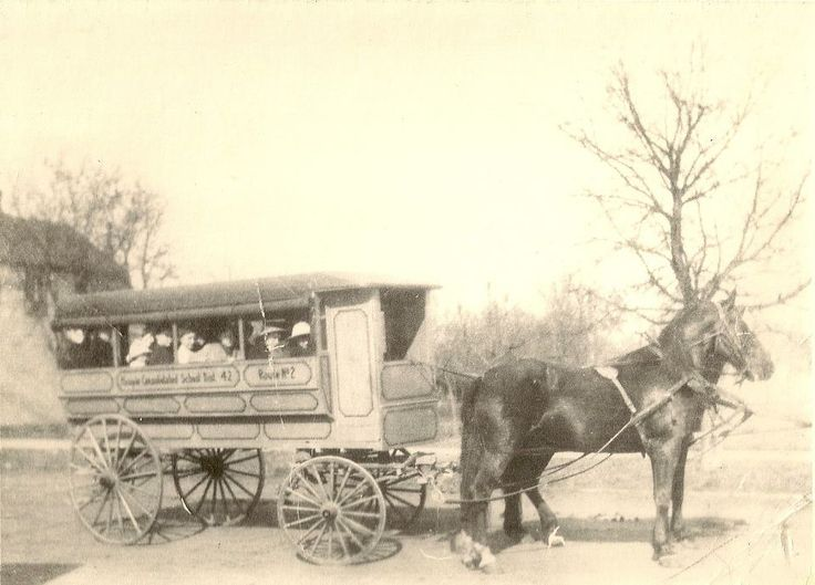 "1890s school bus - "".... Consolidated School Dist. 42 Route No. 2"""
