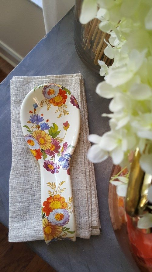 MacKenzie-Childs Spring Kitchen Decor White Farmhouse Cooking Spoon Rest