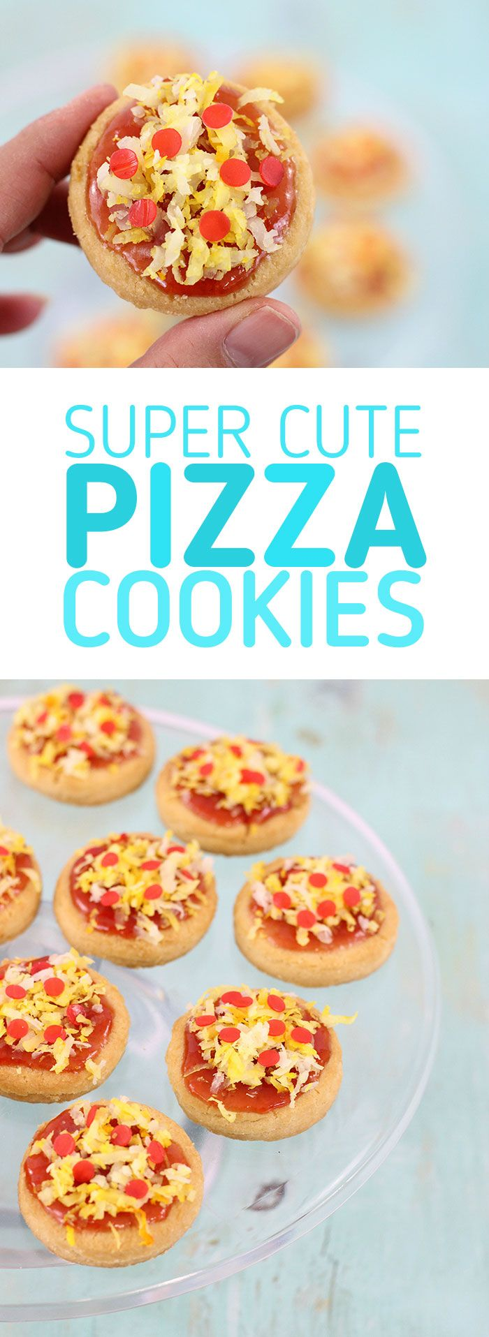 Pizza Cookies! This pizza cookie recipe is so easy using store bought cookies, jam, coconut. Not only are they adorable, but they are delicious too. Perfect for Teenage Mutant Ninja Turtle Themed Parties! via @dawnchats