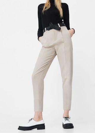 Proste spodnie crop - Spodnie dla Kobieta | MANGO Polska