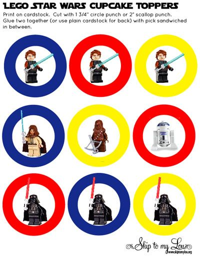 lego star wars cupcake toppers! Printable!!Lego Starwars, Cupcakes Toppers, Lego Parties, Stars Wars, Parties Ideas, Cupcakes Parties, Free Printables, Cupcake Toppers, Birthday Ideas