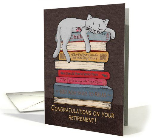 Congratulations on your retirement! Sleeping cat illustration. card