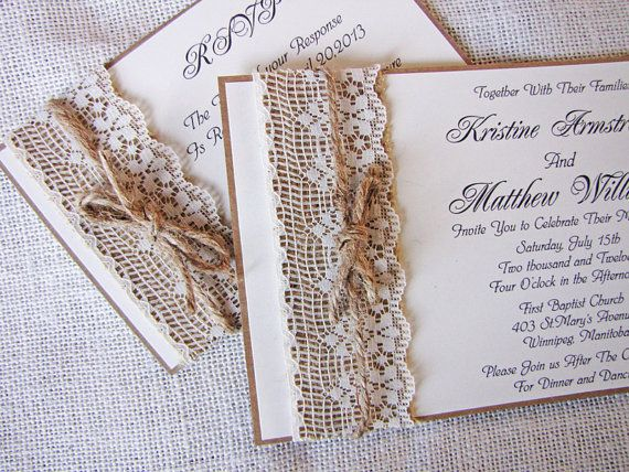 Rustic wedding invites http://www.etsy.com/listing/123497105/handmade-rustic-lace-and-burlap-wedding