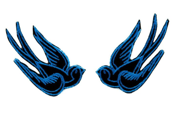 Blue Swallow Sparrows Birds Patch Iron on Applique Alternative Clothing Tattoo Rockabilly  #oi #clubbing #occult #pinup #gothrock #gothicgirl #gothicrock #krock #deathrockgirl #metalforlife