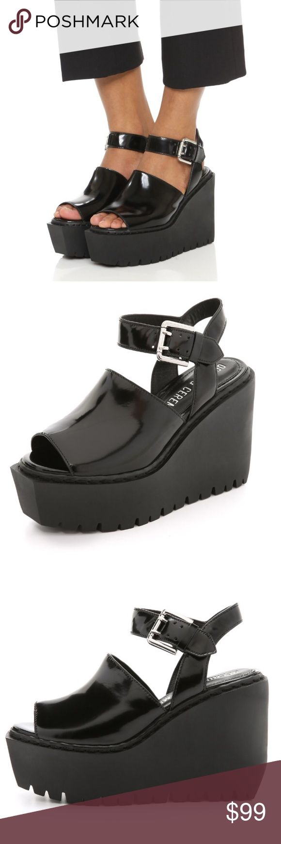 Opening Ceremony Luna Platform Sandal Opening Ceremony's black spazzolato leather Luna ankle-strap sandals are styled with a rubber platform wedge heel. Size 39, fits true 8.5/9. New in box. Opening Ceremony Shoes Platforms