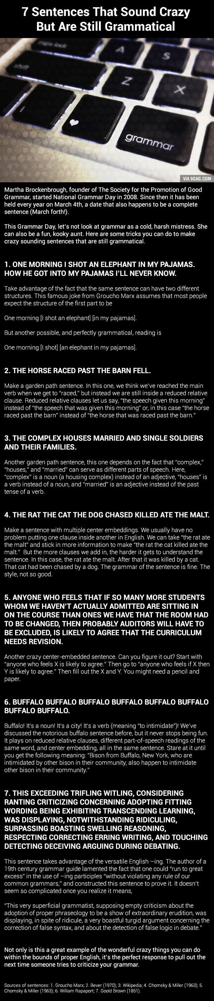 A Gift For Grammar Nazis: 7 Sentences That Sound Crazy But Are Still Grammatical  (National Grammar Day)