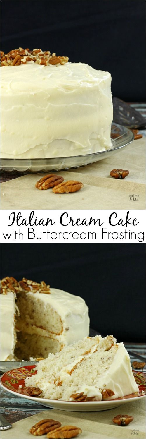 Italian Cream Cake with Buttercream Frosting via callmepmc.com is full of coconut and pecans and smothered in buttercream frosting. This classic recipe is the creme dela creme of stacked layer cakes.