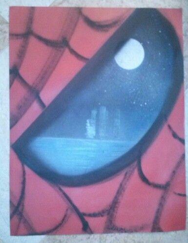Ojo d spiderman,lamina din a3,realizada a spray