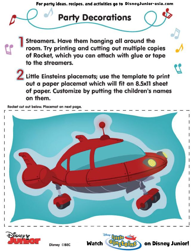 1 of 2--- http://disneyjunior.disney.co.th/little-einsteins-party-decorations-for-grown-ups