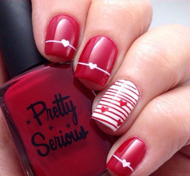 Dating nails, Fashion nails 2016, Heart nail designs, Nails for love, Nails with lines, Red and white nails, Shellac nails 2016, Square nails