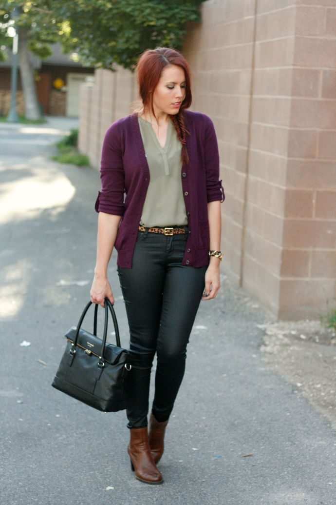 Purple cardi, henly, skinny jeans.  I'd wear my grey platform mary janes or riding boots  instead of ankle boots.