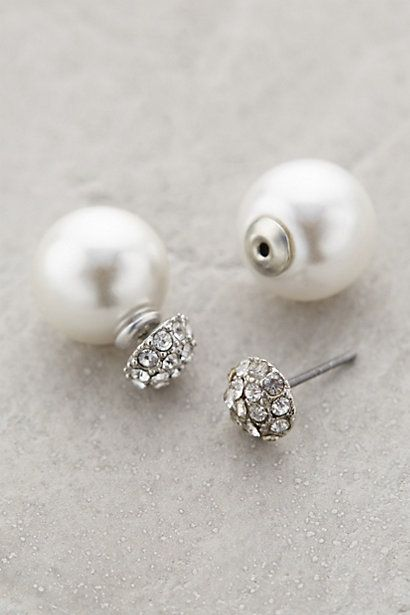 Pearl-backed studs - Anthropologie - Reversible earrings (pearls or diamonds)
