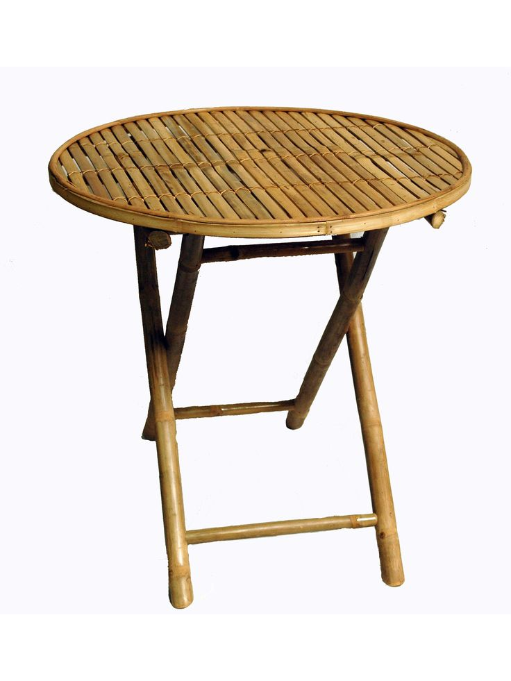 Great when you need an extra table for your party needs or great accent to your rooms indoors or out, this round table will lend a unique flair to any home decor. - Shape: Round - Material: Bamboo Dim