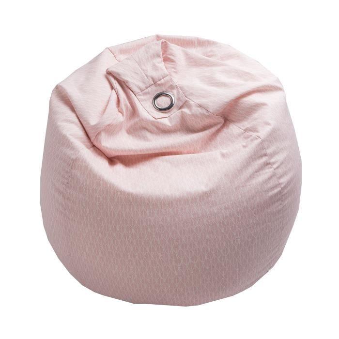 Pouf Poire Scandi Coton 79 X 79 X 100 Cm Beige Pouf Poire Motifs Blancs Billes De Polystyrene