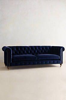 Linen Lyre Chesterfield Sofa, Hickory - anthropologie.com