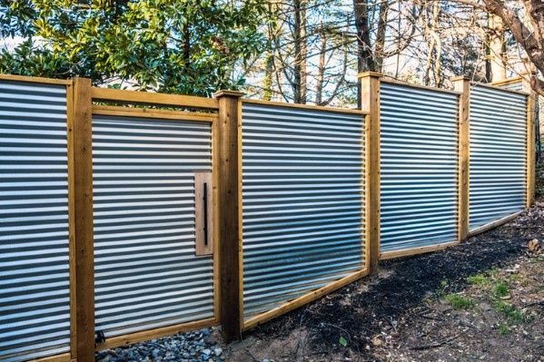 Top 50 Best Privacy Fence Ideas Shielded Backyard Designs Metal Fence Panels Corrugated Metal Fence Privacy Fences