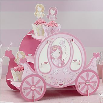 This easy to assemble cake stand is in the shape of a pink princess carriage.Perfect for displaying cupcakes and treats at any princess party! Measures approx 9.8 x 13.5 x 14.2 cm when assembled
