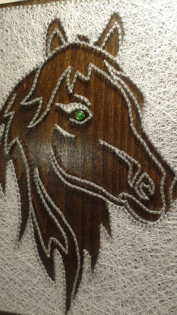 Horse. String Art picture. Wall decor.Home decor. Natural Home. Rustic decor.Wooden Wall art
