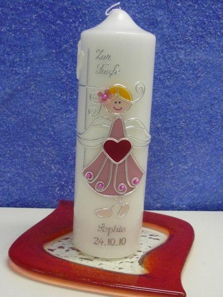 Taufkerze -Original Schutzengelmädchen von Kerzenlädchen auf DaWanda.com