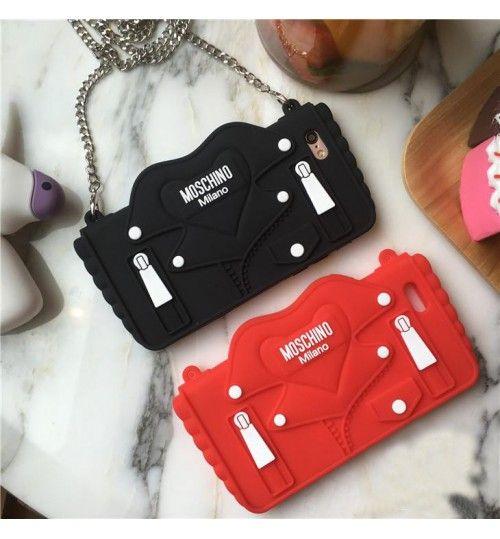 ブランド モスキーノ iPhone7/7plusケース Moschino レディース イタリア風 ライダースジャケット 可愛い 赤 黒 チェーン iPhone6/6S/6plus/6Splusジャケットケース 激安