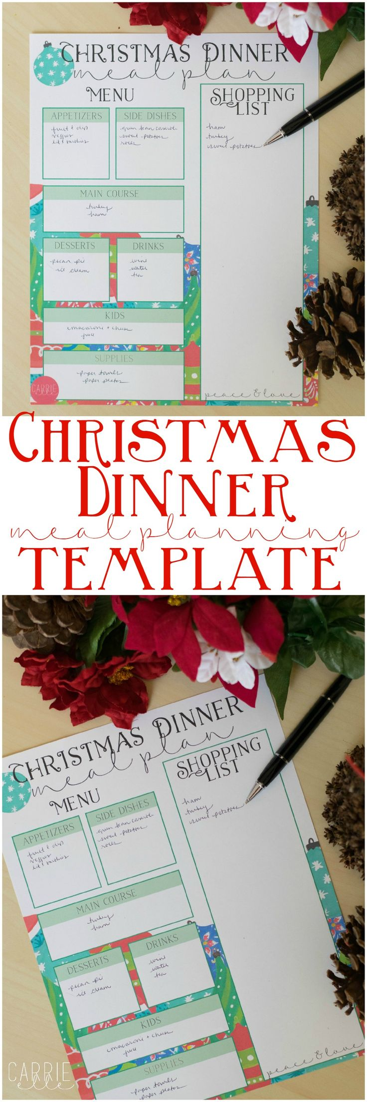 Plan your Christmas dinner in style! Planning will help you reduce stress and chaos and save money, too. Get your free printable Christmas dinner meal planning page here!