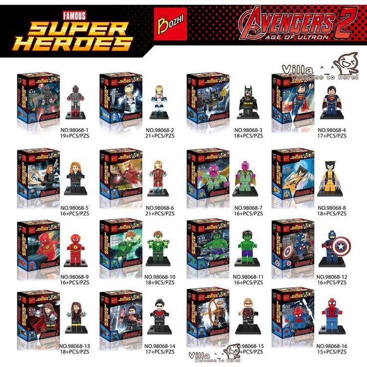 Set 16 unids Marvel Avengers 2 Superheroes capitán america Hulk Iron Man viuda negro bloques de construcción Lego