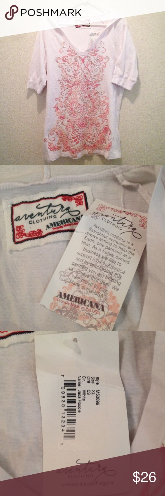 Aventura Clothing Short Sleeve Hoodie White Pink White and pink short sleeve hoodie NWT Aventura Clothing organic cotton. Green friendly! XL Aventura Clothing Tops Sweatshirts & Hoodies