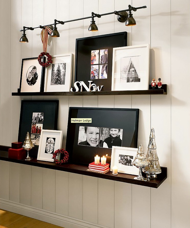 Love the mercury glass trees and the flexibility of changing the pictures and decor on the shelves.