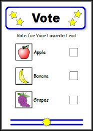 Free pdf Election Ballot to vote for favorite fruit. Found at the bottom of this LessonPix article.