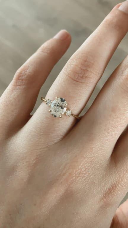 18k White Gold Moissanite Selene Diamond Ring 1 10 Ct Tw In 2020 Simple Wedding Rings Engagement Small Engagement Rings Pretty Wedding Rings