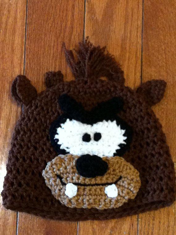 Taz Tasmanian Devil Crochet Beanie Skullcap Hat by passion4craftin, $12.00Taz Beanie, Taz Tasmanian, Crochet Hats, Character Hats, Baby Taz, Skullcap Hats, Crochet Beanie, Beanie Skullcap