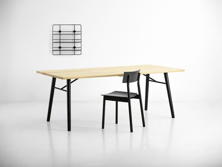 A perfect match between dark and light, complements most other furnitures • Split dining table • Designed by Says Who #diningtable #table #planktable #design #WOUDdesign