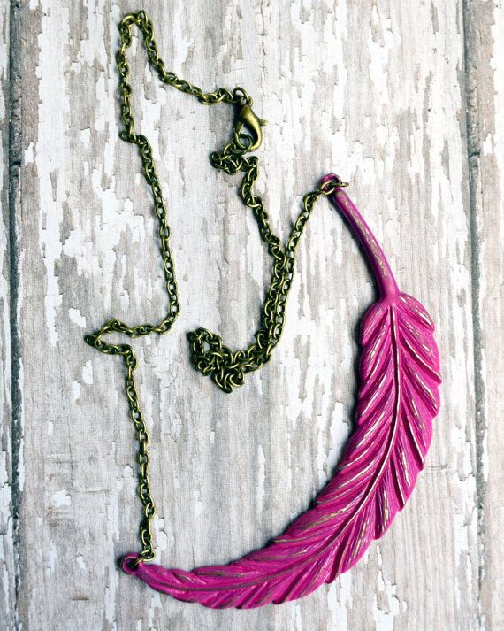 Large Feather Necklace Boho Necklace Bohemian by michelledaleigh