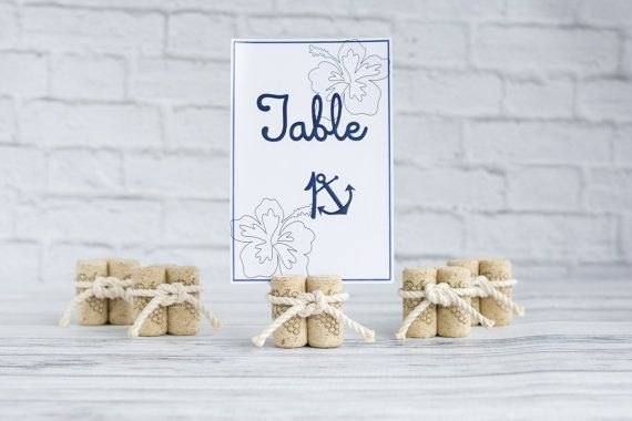 Nautical Cork Place Card Table Number Holders - Set of 5 Wine Cork Beach Destination Vineyard Wedding Decoration Tie the Knot