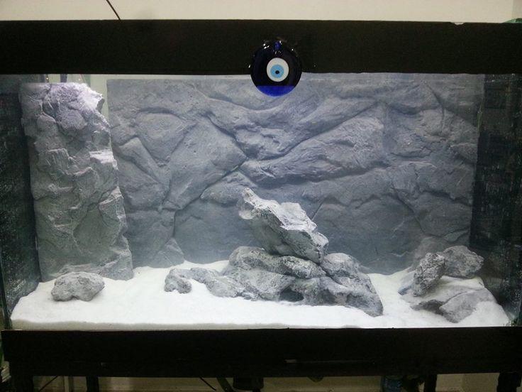3d aquarium bacground akvaryum fonu 3d taş kaya görüntüsü