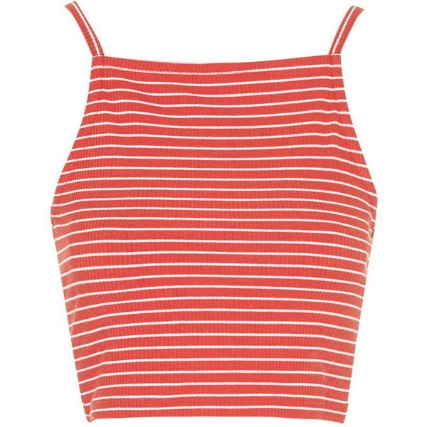 TOPSHOP TALL EXCLUSIVE Square Neck Crop Top (94 EGP) ❤ liked on Polyvore featuring tops, crop tops, shirts, tank tops, red, tall shirts, high neck top, topshop, striped crop top and polyester shirt