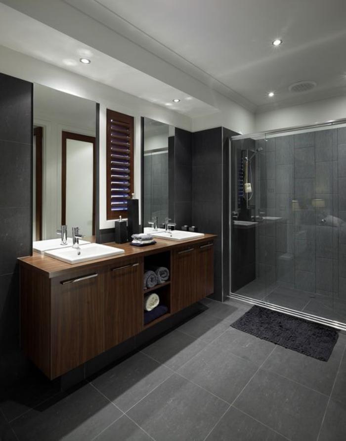 Les 20 meilleures id es de la cat gorie salles de bains gris fonc sur pinterest - Salle de bain bois et gris ...