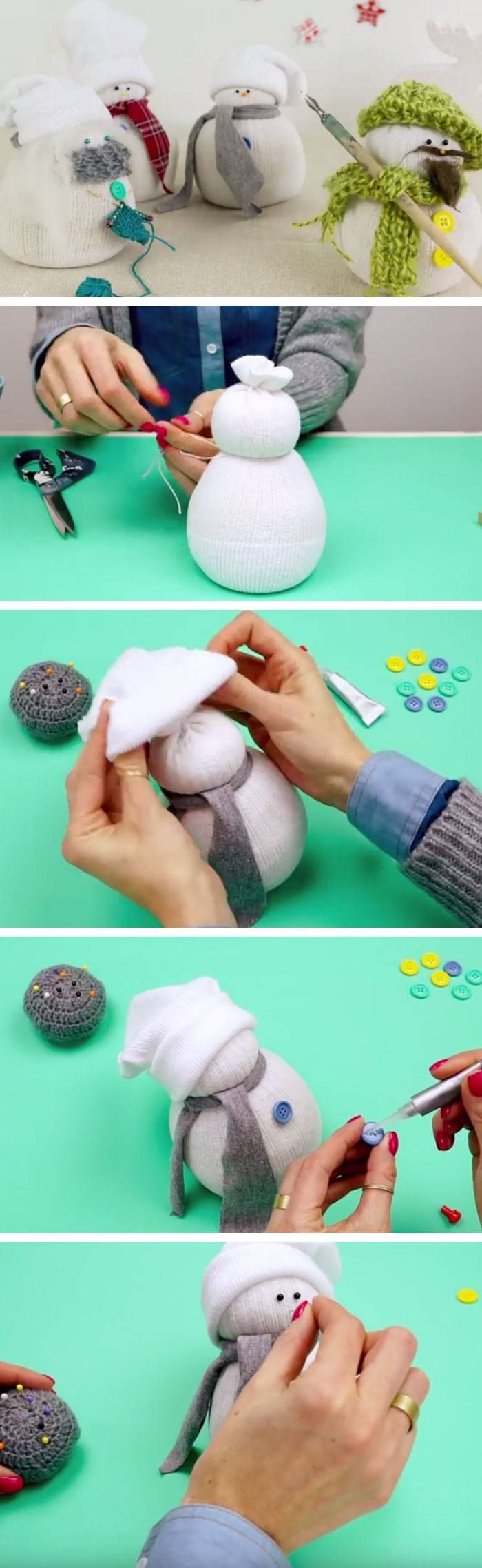 Sock Snowman | Click Pic for 22 DIY Christmas Gifts for Kids to Make | Handmade Christmas Gifts for Boys