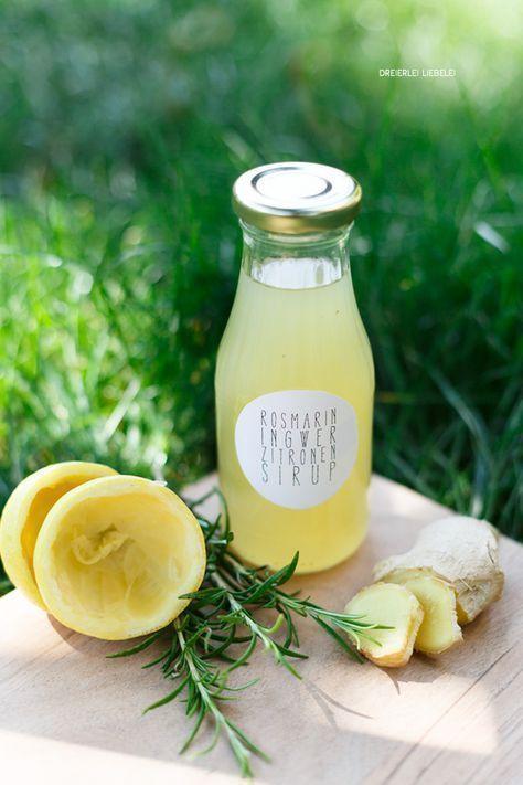 Selbstgemachte Limonade mit Ingwer, Rosmarin und Zitrone inkl. Etiketten-Freebie + Hitzeblogfrei