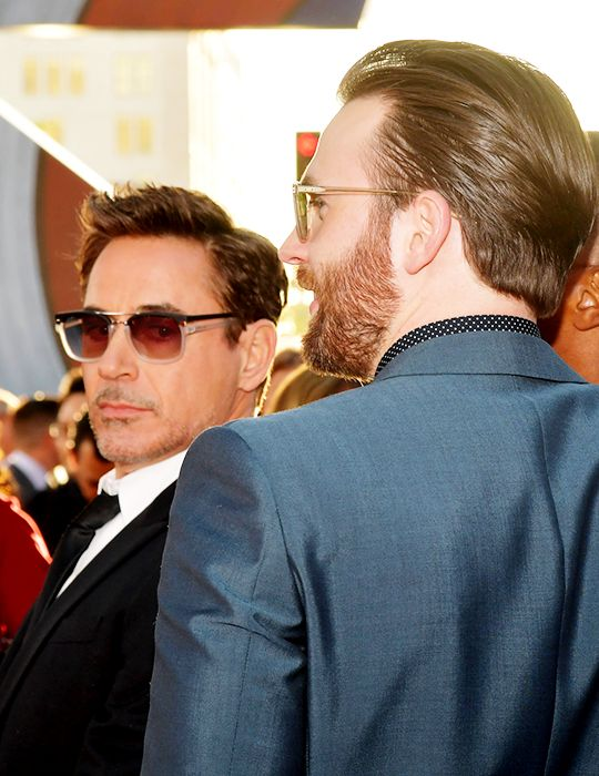 """Robert Downey Jr. and Chris Evans at the world premiere of """"Captain America: Civil War"""" at the Dolby Theater, Los Angeles, April 12, 2016"""