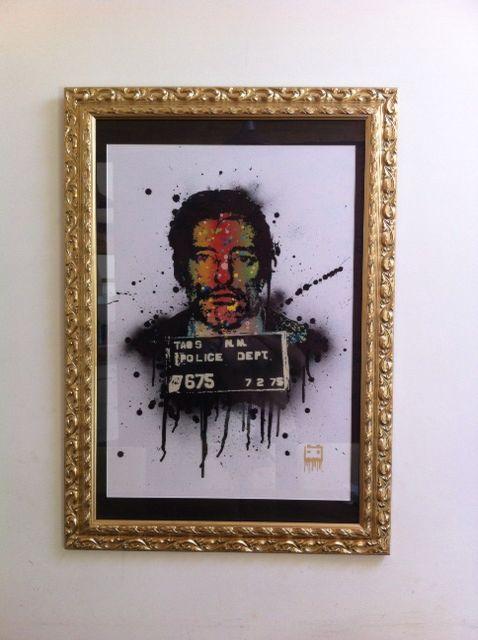 Graffiti stencil, spray paint, Denis hopper, mugshot