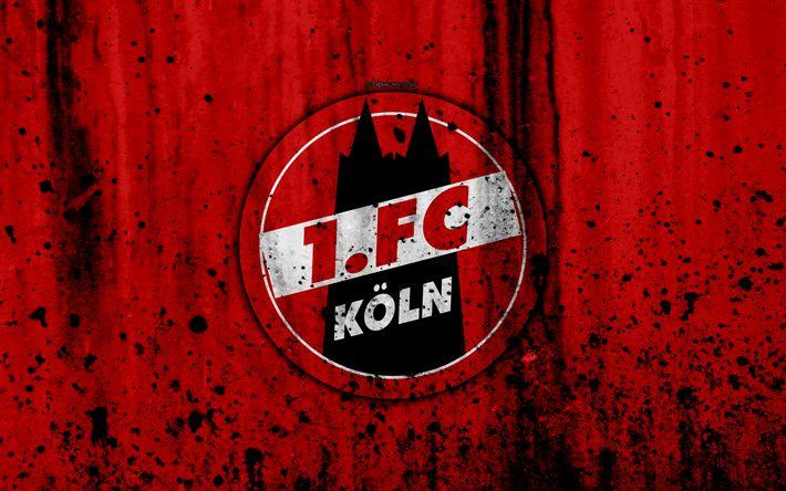 Download wallpapers FC Koln, 4k, logo, Bundesliga, stone texture, Germany, FC Cologne, Koln, soccer, football club, Koln FC