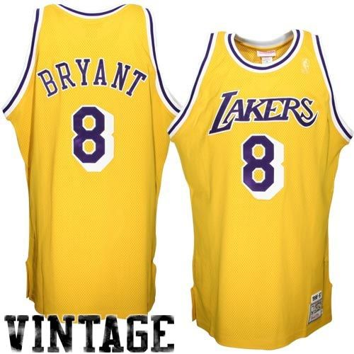 8d23c64b0504 Only 20.50USD Mitchell Ness Los Angeles Lakers 8 Kobe Bryant Gold Authentic  Throwback Basketball Jersey ...